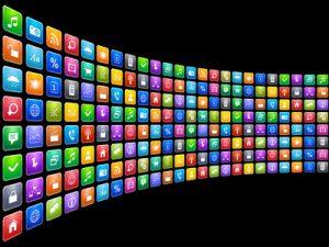 Eine lange von Smartphone-Apps vor schwarzem Hintergrund