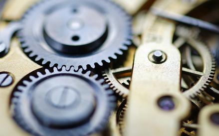Nahaufnahme eines Uhrwerks