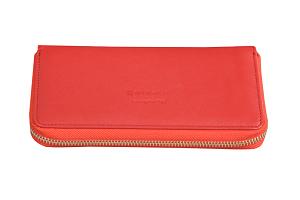 Smart Wallet aus Leder in Rot
